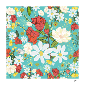 Pomegranate and daisy vibrant colorful pattern