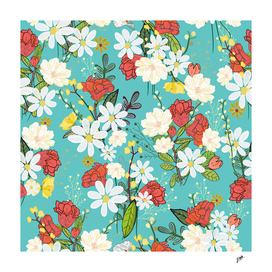 Pomegranate and daisy. Colorful flowers pattern