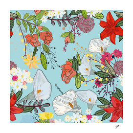 Pomegranate and lily and colorful flowers pattern