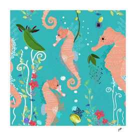 Seahorse and sea plants. Colorful underwater pattern