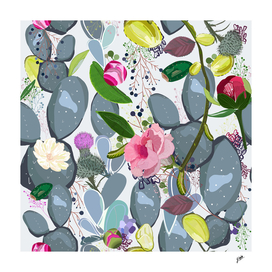 Succulent, cactus and bud rose colorful pattern