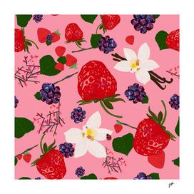 Strawberry, blackberry and vanilla flower. Red berrie