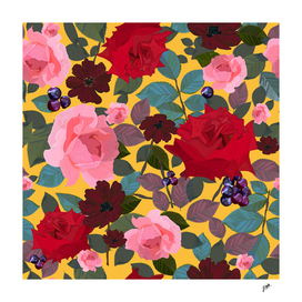 Vintage red pink roses and chocalate cosmos flower patern
