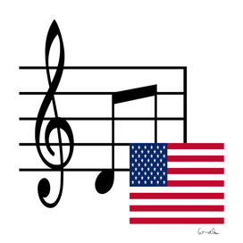music notes and flag of usa