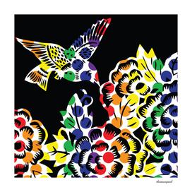 Hummingbird Dots Black
