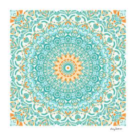 Orange and Turquoise Clarity Mandala