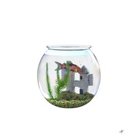 goldfish bowl water castle plant
