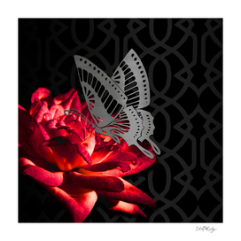 Red Flower Butterfly & Imperial Trellis