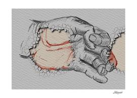 hand finger drawing fingernails