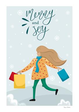 Christmas greeting card. Girl with Christmas gifts.