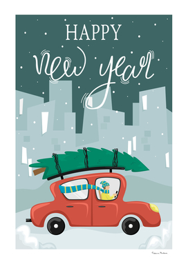 Christmas greeting card. Red car with a Christmas tree.