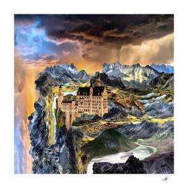 castle fantasy landscape stormy