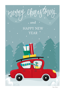 Christmas greeting card. Red car with Christmas gifts