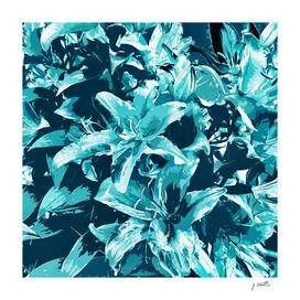Blue exotic flower blooms