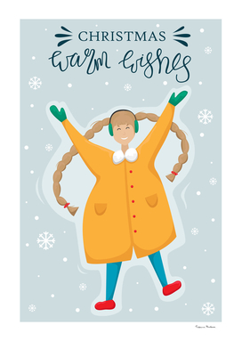 Christmas greeting card. Happy girl in a yellow winter coat