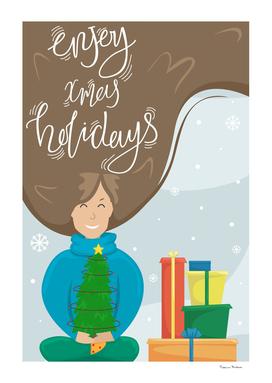 Christmas greeting card. Xmas holidays.