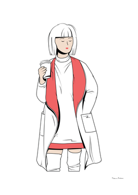 Digital fashion illustration of a girl with a coffee