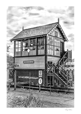 Signal Box in Black and White