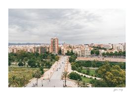 Valencia cityscape, ancient bridge across River Turia