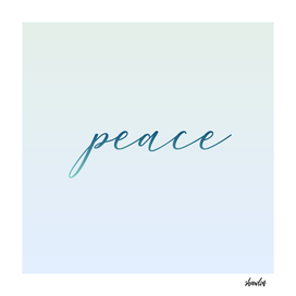 Peace motivational typography in soft green colors