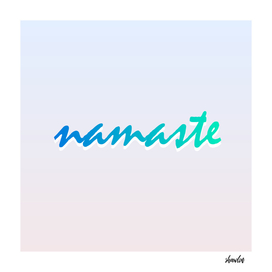 Namaste lettering in calming green colors