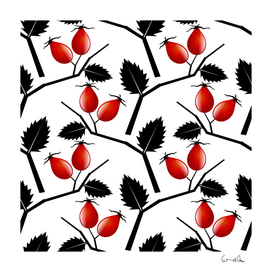 rose hip pattern branches autumn