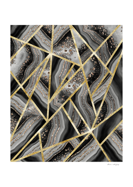 Black Night Agate Gold Geometric Glam #1 #geo #decor #art