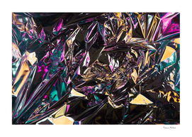 Abstract crumpled foil background. Chameleon color