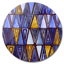 Tribal Geo Indigo Gold Pattern
