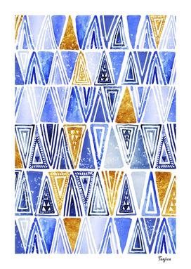 Modern Indigo Blue Gold Tribal Ethnic Triangles