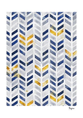 Modern Blue Gold Acrylic Canvas  Herringbone Chevron Pattern