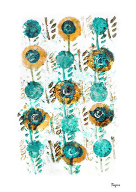 Turquoise Aqua Blue Yellow Floral Pattern