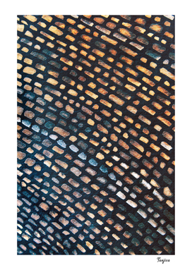 Blue Brown Parisienne Walkway Cobbles Pattern