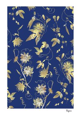 Gold Passion Flowers Dark Flower on Blue