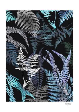Elegant Fern Leaves on Dark Background Patten