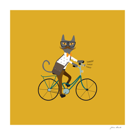 Gray hipster cat on a blue bicycle