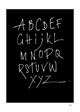 White Alphabet On Black