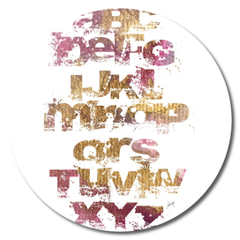 Grunge Alphabet Gold Pink