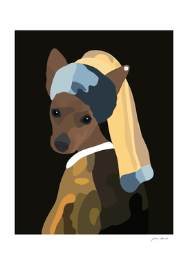 Pinscher dog with a pearl earring