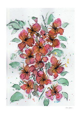 Watercolor and Ink Flower Ensemble