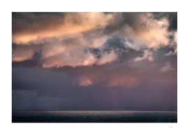 Storm Clouds At Sunset Over The English Channel