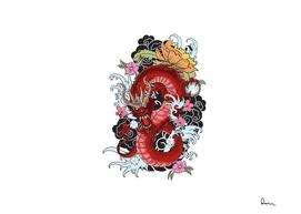 Tattoo Dragon flower