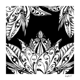 Black And White Lotus Flower Design