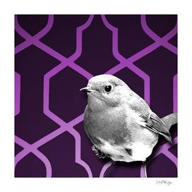 Grayscale Bird & Purple Trellis