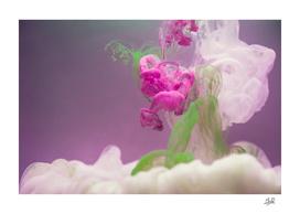 Ink Flower #3, Green, Pink, White