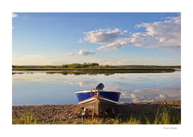 Boat waiting at a northern river