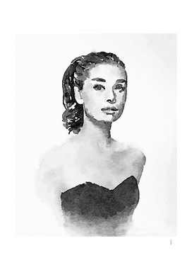 Audrey Hepburn watercolor portrait