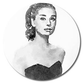 Audrey Hepburn watercolor portrait