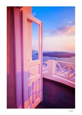 santorini pink sunset