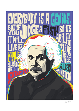 Albert Einstein pop-art quote portrait